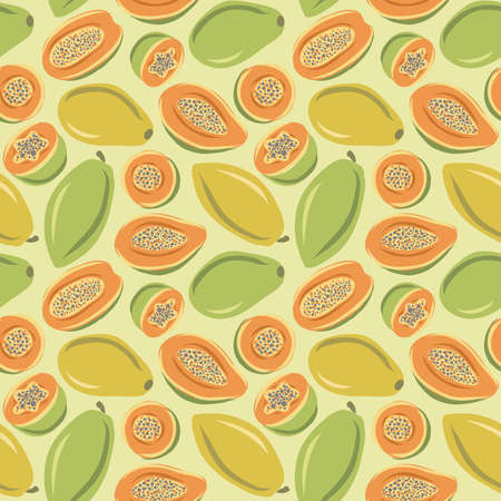 Seamless pattern of whole papaya and papaya half. cartoon and sketch background. Hand-drawn style. Illusztráció