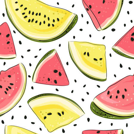 Watermelon seamless pattern. Hand drawn watermelon slice and seeds. Vector illustration for textile, paper and other products. Bright colored pink, red, yellow slices of berries on white background. Ilustração