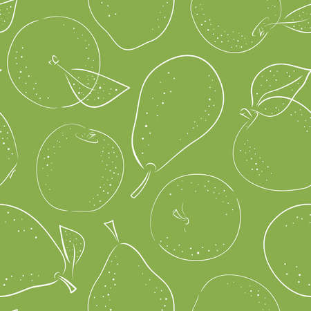 Seamlesss pattern with hand drawn line doodle style pears and apples on green background. For textile, paper, fabric. For kitchen and kids.
