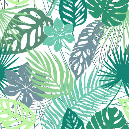 Hand drawn grunge textured tropical leaves seamless pattern. Tropical leaf silhouette elements background. Fan palm, monstera, banana leaf in grunge retro style. Vector illustration