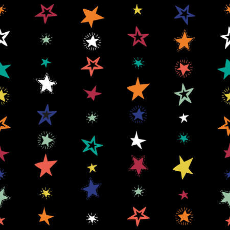 Doodle star confetti seamless pattern. Hand drawn stars background. Vector illustration for print, textile, paper