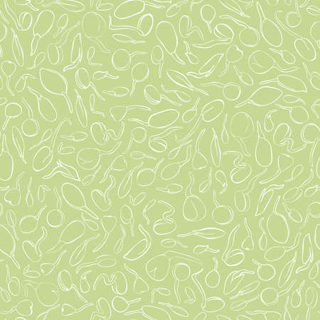 Seed growing seamless pattern - vector illustration. Background. Microgreens in sketch and freehand style. Soybean sprouts, mash Healthy and wholesome vegan food for restaurants, cafes and kitchens
