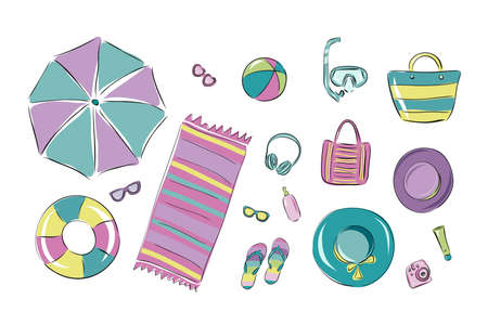 Summer beach vacation Vector illustration. Sets for a beach holiday in a flat design: glasses, hats, towel, masks, sun protection, cream, inflatable toys, ball, shoes and accessories.