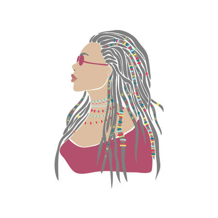 American woman braids african drawn for design. Young lady portrait in glasses. Oriental people. Boho style. Vector drawing. Beautiful model face. Vector graphic illustration. Fashion print.