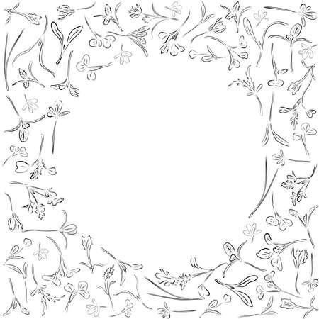 Vector round outline frame with microgreen. Herbs - pea, sunflower, onion, corn, basil, china rose, spinach, fennel, sorrel, collard, dill, salad burnet, kohlabi, barley, tatsoi on a white background. Vetores