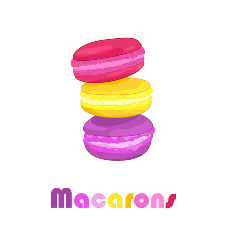 Sweet color macarons on the white background