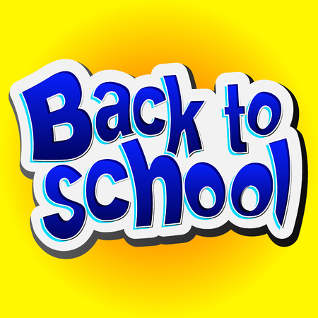 Back to School, Vector lettering illustration on yellow background