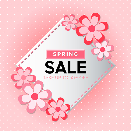 Spring Sale day! Take up to 50% off. Vector lettering isolated on pink background. Illustration for Woman and Mother day 向量圖像