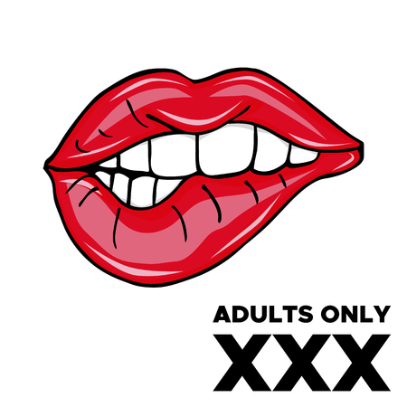 Adults Only XXX. Sweet Sexy Pop Art Pair Of Glossy Vector Lips. Sexy girl with red lips