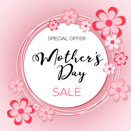 Happy Mother's day! Vector lettering illustration on pink background