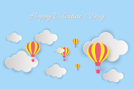 Happy Valentine's Day lettering! Beautiful clouds and air balloons! Abstract paper art 3D vector illustration on blue background. Valentines Day card.