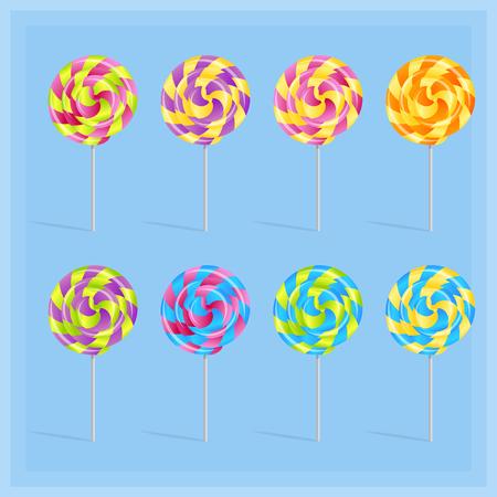 Sweet candy lollypop set on light blue background, Vector illustration