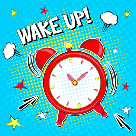 Wake up !! Lettering cartoon vector illustration Pop art style Ilustração