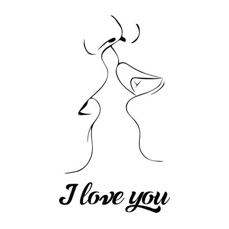 Realationship, black siluets, vector illustration on white background