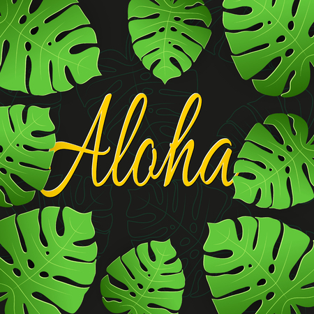 Ilustracja wektorowa tropikalny Aloha z liści palmowych na czarnym tle. Tropikalny wektor napis transparent Ilustracje wektorowe