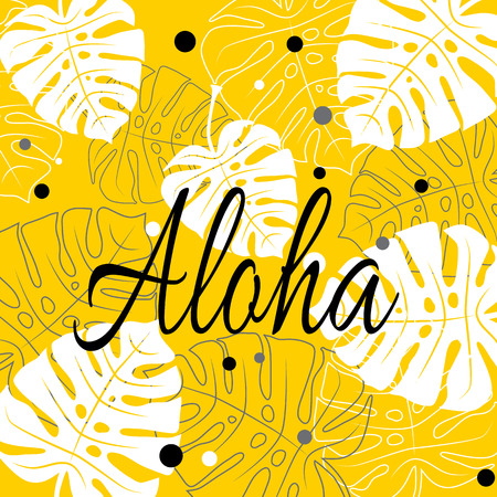 Aloha Tropical vector illustration with palm leaves on yellow background. Tropical vector lettering banner