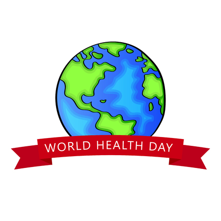 World health day. 7th april. Vector Earth isolated on white background