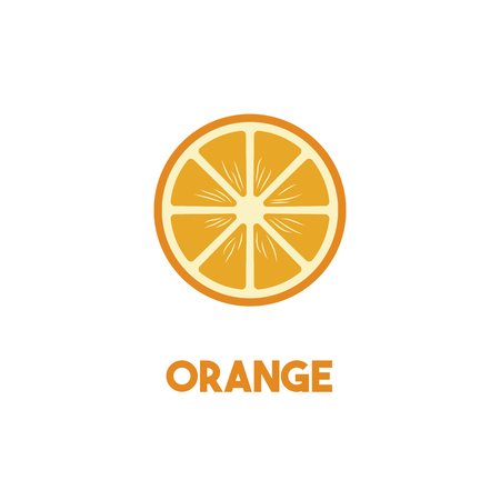 Orange Vector isolated illustration on gray background. Healthy vegetarian food. Vectores