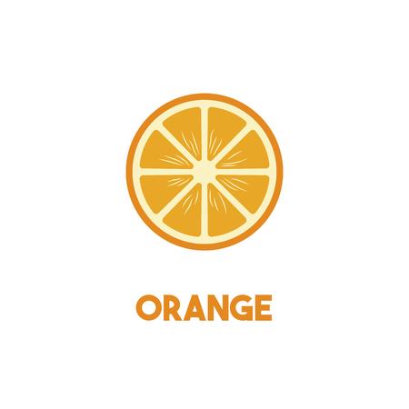 Orange Vector isolated illustration on gray background. Healthy vegetarian food. Иллюстрация