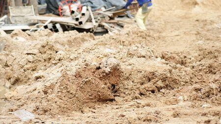 sandy: Construction equipment (sandy soil, stell) Stock Photo