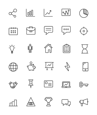 brokerage: Financial and Business Icons - Thin Line Icon Set