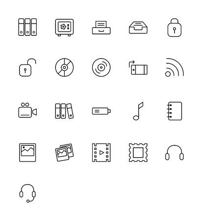 multimedia: Multimedia Icons - Thin Line Icon Set Illustration