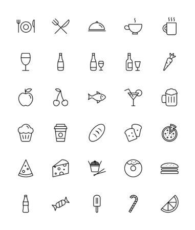 Icons Essen und Trinken - Thin Line Icon Set Standard-Bild - 61726055