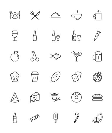 Food and Drink Icons - Thin Line Icon Set