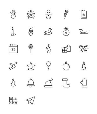 Christmas and Holidays Icons - Thin Line Icon Set Ilustracja