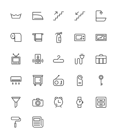 Household and Hotels - Thin Line Icon Set