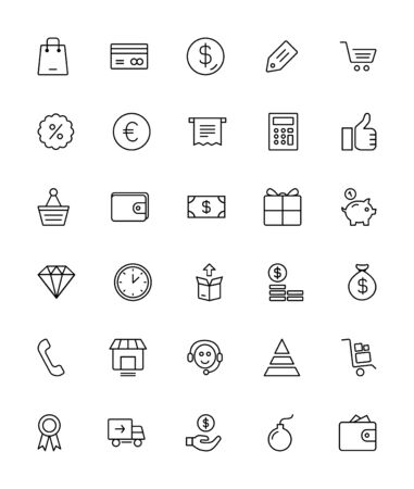 Online Winkelen Pictogrammen - Thin Line Icon Set Stock Illustratie