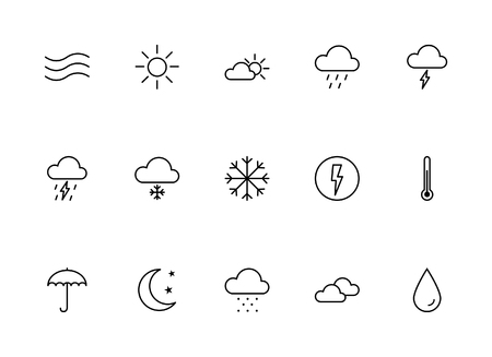 Pictogrammen van het weer - Thin Line Icon Set Stock Illustratie
