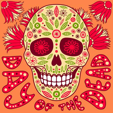 dode bladeren: Dag van de Doden vector illustratie. Schedel met florale decoratie. Stock Illustratie