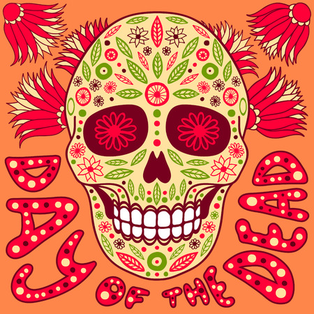 pink girl: Day of the Dead vector illustration. Skull with floral decoration.
