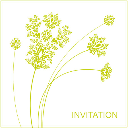 incrustation: Template invitation with filigree flowers