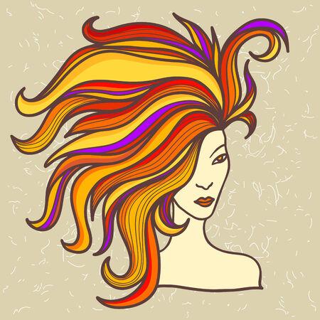 lussureggiante: bella ragazza con i capelli rigogliosa Vettoriali