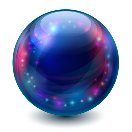 Blue sphere with multicolored glowing elements. Vector