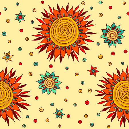 seamless pattern with sun flowers Vector