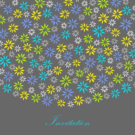 очаровательный: Шаблон карты с очаровательными маленькими цветочками