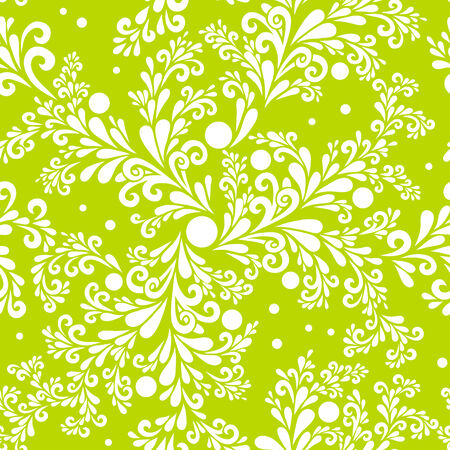 floral green background with curls