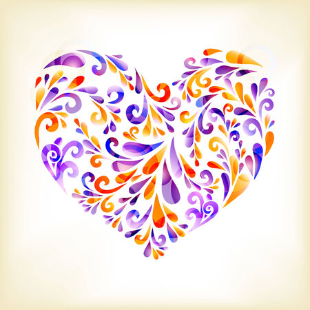 heart composed of floral elements Vector