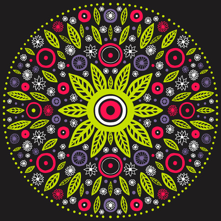 contrasty: contrasty round floral ornament, mandala