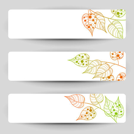 Three vector banners with autumn sprigs.