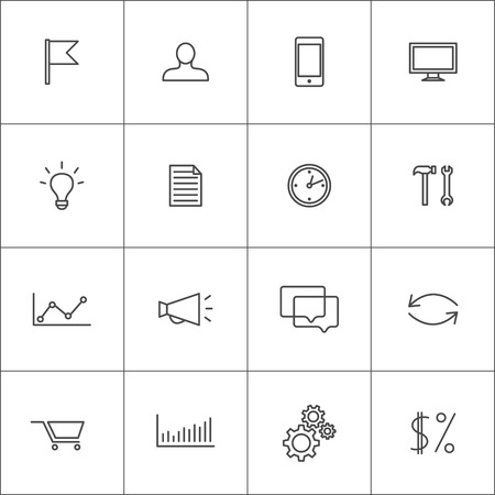 Icons for visualization business or promotional processes. Vector set.
