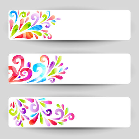 Banners with floral colorful elements Vector