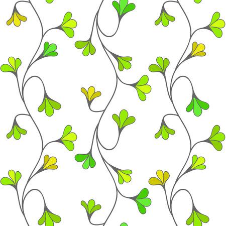 Green floral seamless pattern. Vector wallpaper tile.