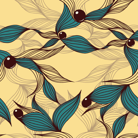 Floral abstract background with leaves and beads. Seamless wallpaper tile. Vector