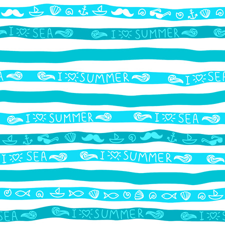 Summer seamless background. Blue strips with messages and symbols. Çizim