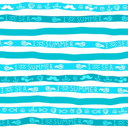 olas de mar: Verano de fondo sin fisuras. Tiras azules con mensajes y s�mbolos.