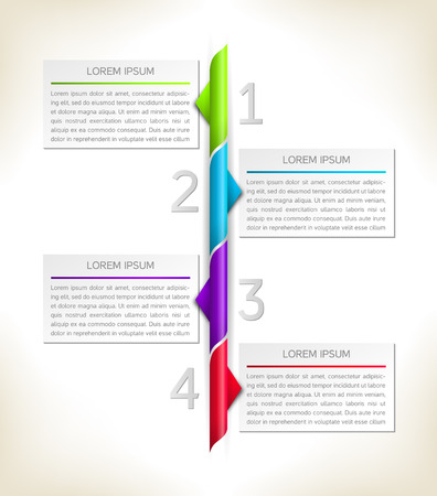 enumeration: Timeline infographics with 4 options. Vector design template. Illustration